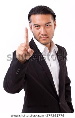 winning businessman raising no.1 hand gesture - stock photo