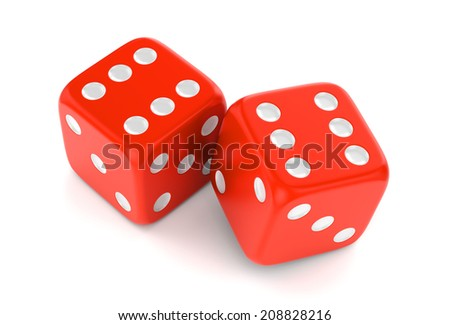 Winning combination of dices isolated on white background. Gambling, card game, casino and luck concept - stock photo