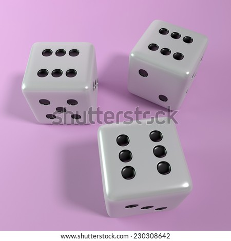 Winning dice roll in pink - stock photo