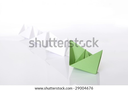 Winning Green Paper Boat Origami Stock Photo Royalty Free 29004676