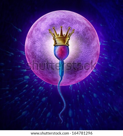 Winning sperm human Fertility concept with a close up of microscopic spermatozoa cell wearing a gold crown as the winner to fertilize a female egg cell for as a pregnancy medical reproduction symbol. - stock photo
