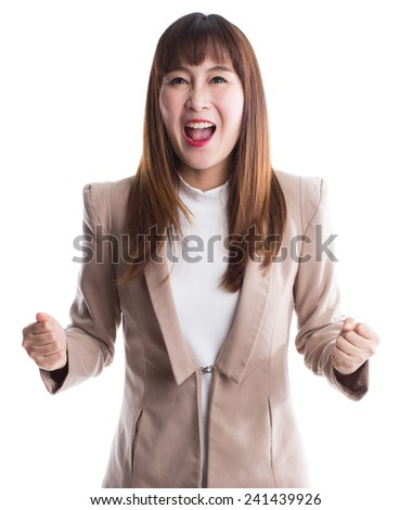 Winning success business woman isolated on white background - stock photo