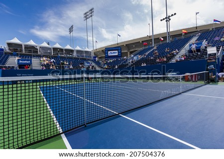 WINSTON-SALEM, NC, USA - AUGUST 21: Center Court at the Winston-Salem Open on August 21, 2013 in Winston-Salem, NC, USA - stock photo