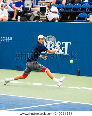 WINSTON-SALEM, NC, USA - AUGUST 22: Yen-Hsun Lu plays on center court at the Winston-Salem Open on August 22, 2014 in Winston-Salem, NC, USA - stock photo