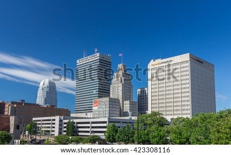 WINSTON-SALEM, NC, USA - MAY 5: Downtown Winston-Salem, North Carolina, on May 5, 2016 in WINSTON-SALEM, NC, USA.