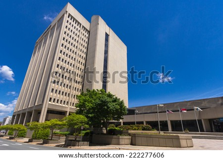 WINSTON-SALEM, NC, USA - MAY 9: RJR Plaza (also known as the Reynolds American Building), built in 1982, on May 9, 2013 in Winston-Salem, NC, USA - stock photo