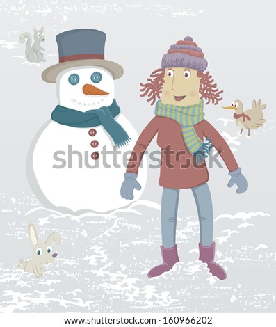Winter. A girl just made a snowman. Nearby is a rabbit, a squirrel and a bird.  - stock photo