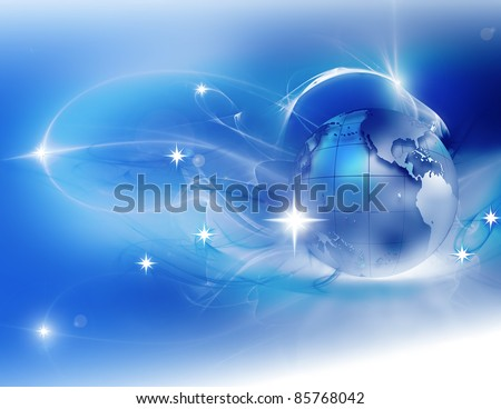 winter abstract background with the planet and stars - stock photo