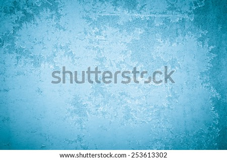 winter abstract frost pattern on glass - stock photo