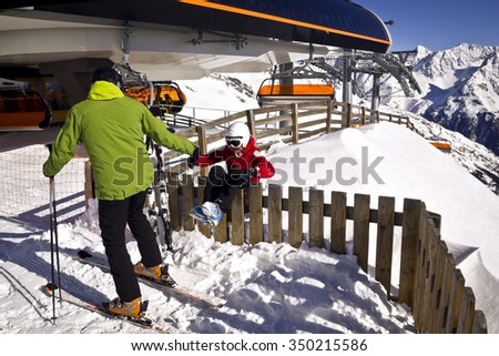 winter action in mountains - stock photo