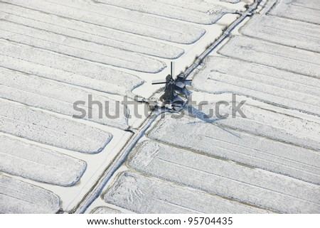Winter aerial view of a windmill, Zuid-Holland, Netherlands
