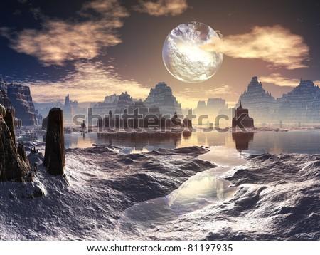 Winter Alien Landscape with Damaged Moon in Orbit - stock photo