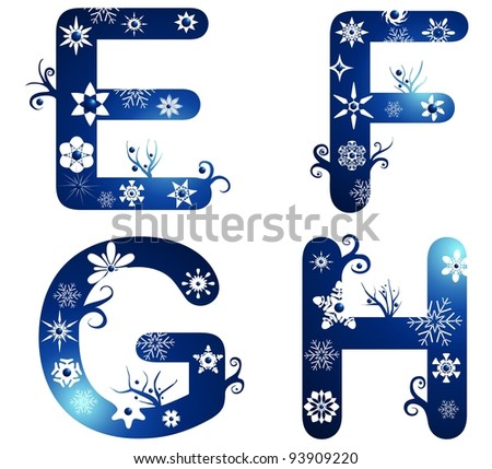 winter alphabet set letters E - H - stock photo