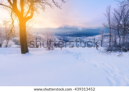 Winter alpine mountain snowy hills - stock photo