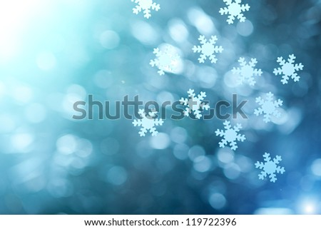 Winter and christmas background with stars, snowflakes