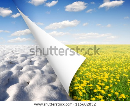 winter and spring landscape - stock photo