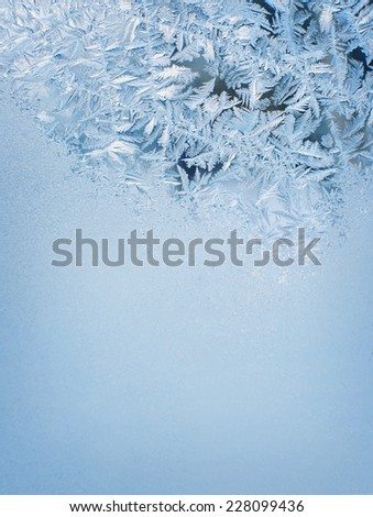 Winter background, frost on window - stock photo