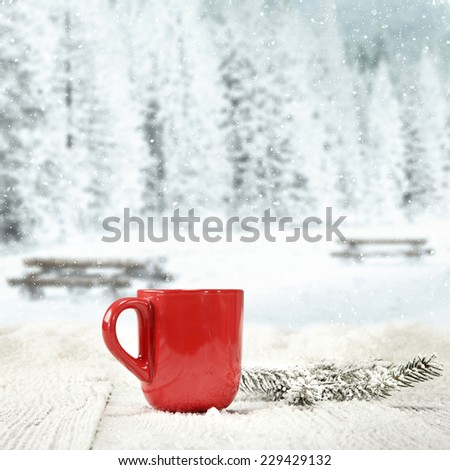winter background of wooden old table with landscape of park in snow and mug of red  - stock photo