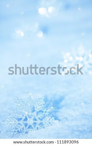Winter background. Snowflakes on snow - stock photo