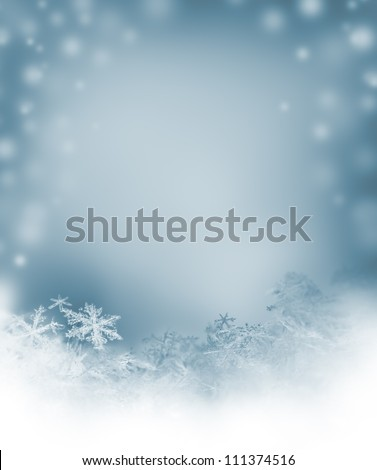 winter background with natural snowflakes - stock photo
