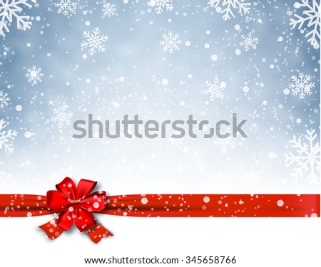 Winter background with red bow. Illustration . Christmas card,invitation,background,design template. concept for greeting or postal card  Raster version. - stock photo