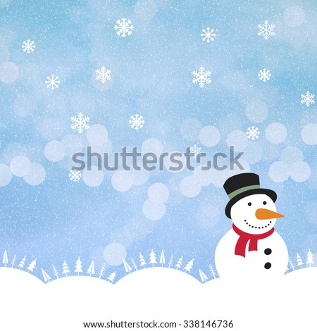winter background with snow,  ice and a snowman . There is lots of room for copyspace for youre  own design