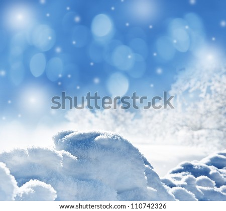 winter background with snow texture close up - stock photo