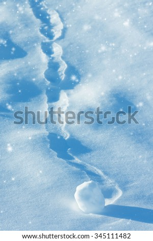 Winter background with snowball and brilliant snow - stock photo