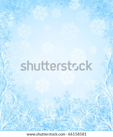 winter background with snowflakes - stock photo