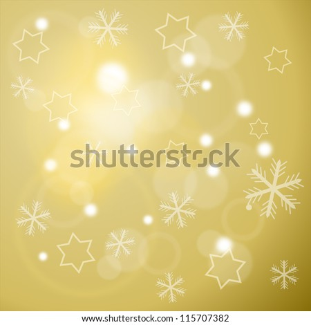 Winter background with snowflakes and stars - stock photo