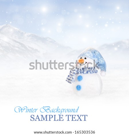 Winter background with snowman  - stock photo