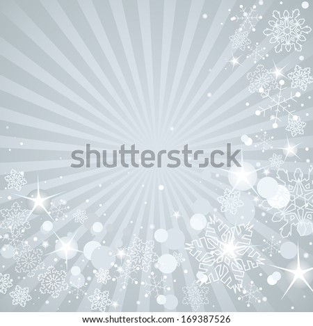 Winter background with white snowflakes. Raster version.   - stock photo