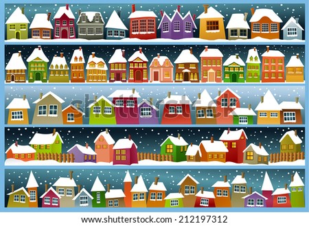 Winter banners with cartoon houses  - stock photo