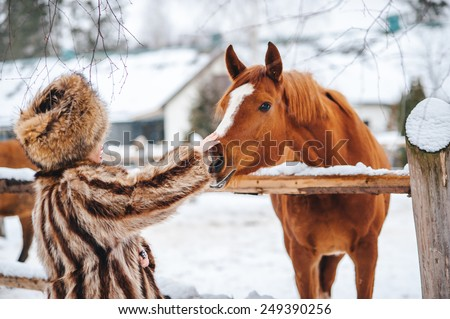 Winter beautiful Girl in  Fur Coat and hat feed the horses - stock photo