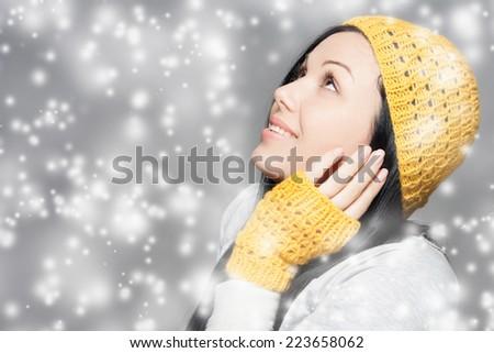 Winter Beauty Woman. Holiday Fashion Portrait. - stock photo