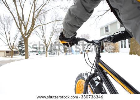 Winter biking - stock photo