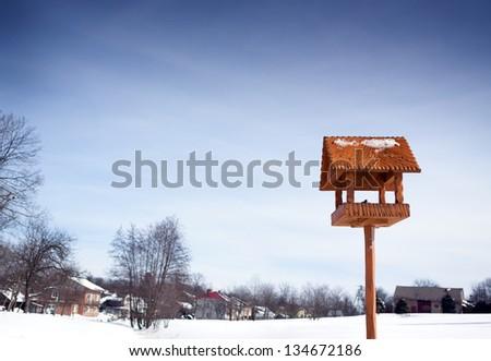 winter bird tit in animal feeder - stock photo