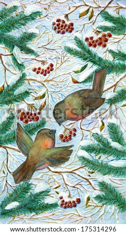 Winter birds with berries, watercolor illustration - stock photo