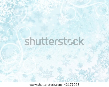 Winter blue background with snowflake, stars and ornament