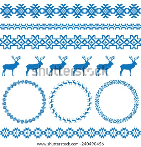 Winter blue holiday set on white background. Deer and snowflake borders, nordic round holiday decoration patterns. Could be used for web, cards, decorations, etc. Raster copy - stock photo