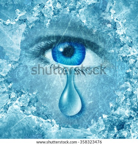 Winter blues seasonal affective disorder or depression and cold grey season lonesome anxiety and emotional crisis concept as a human eyeball crying a tear behind ice as a metaphor for sadness. - stock photo
