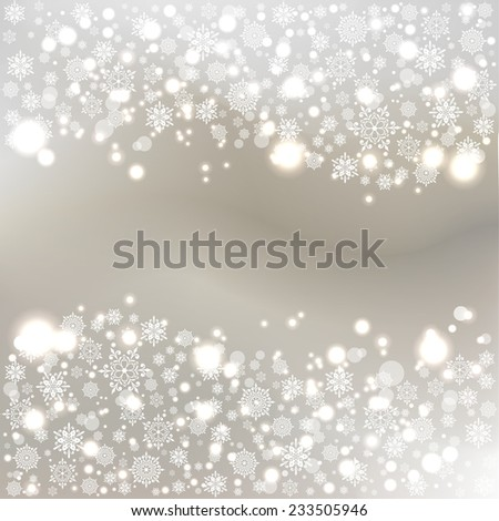 Winter bokeh background with snowflakes. Festive New Year background. - stock photo