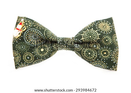 Winter Bow tie isolated on white background. Accessory in the form of a snowman. Fabric with a print of falling snow. - stock photo