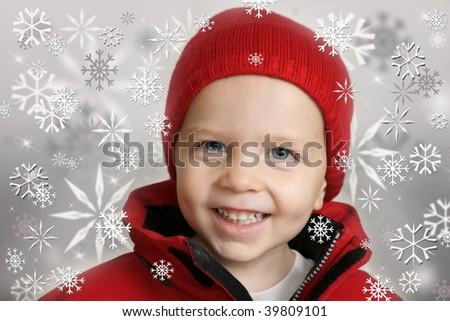 winter boy with snowflakes 2 - stock photo