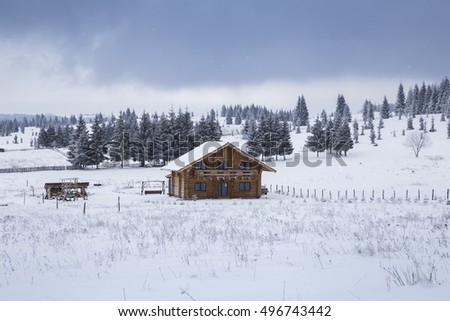 winter cabin in snow