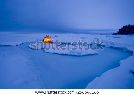 winter camp - stock photo