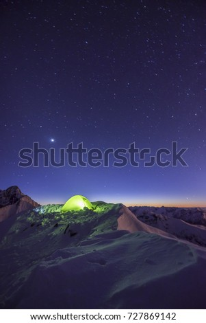 Winter c&ing in high mountains. High Tatra Slovakia. Lid tent shining on a & Winter Camping High Mountains High Tatra Stock Photo 727869130 ...