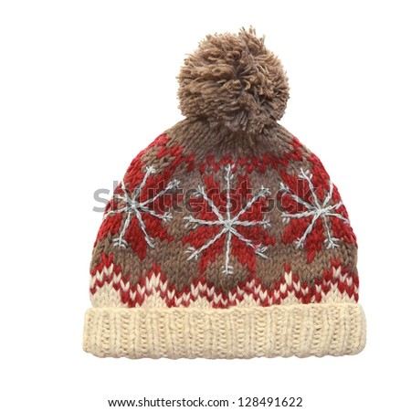 winter cap on white background - stock photo