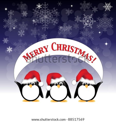 Winter cartoon penguins wearing Santa hats and holding a Merry Christmas banner against a night sky of stars and snowflakes. Also available in vector format. - stock photo
