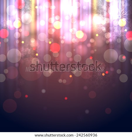Winter Christmas Blurred Bokeh Background with Glow Snowflakes - stock photo